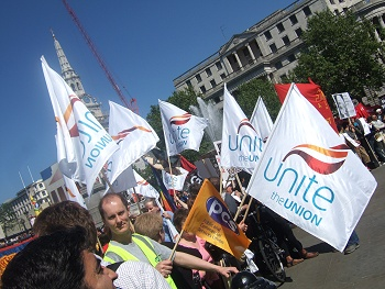 Unite flags in Trafalgar Square