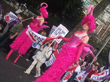 flamingo stilt walkers